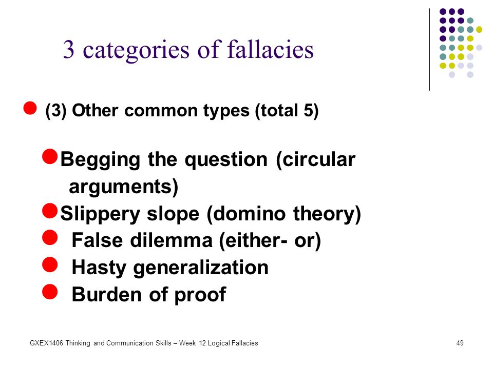 3 categories of fallacies