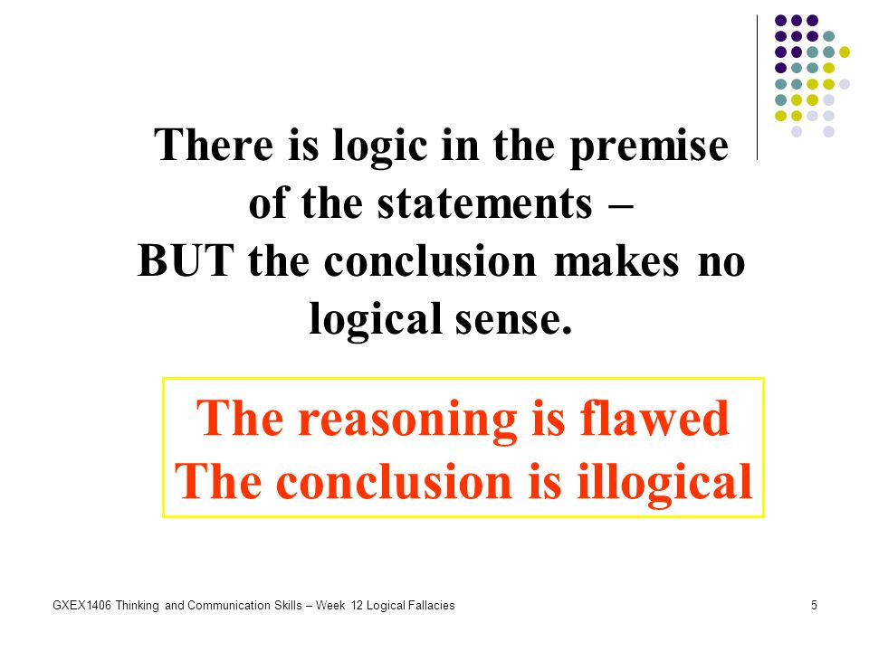 The reasoning is flawed The conclusion is illogical