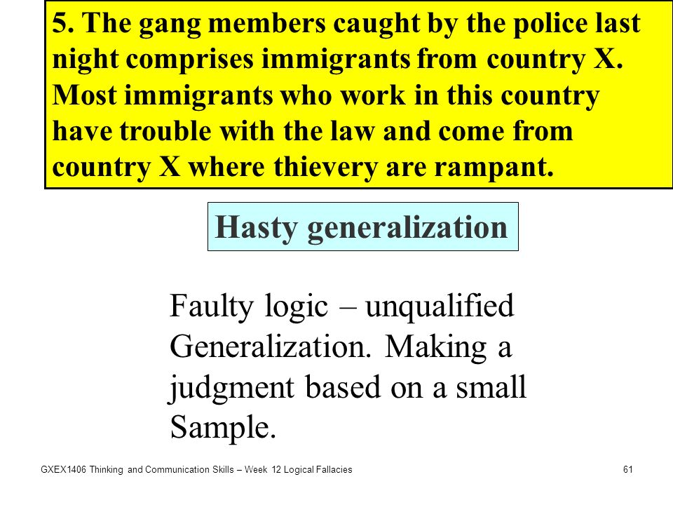 Faulty logic – unqualified Generalization. Making a