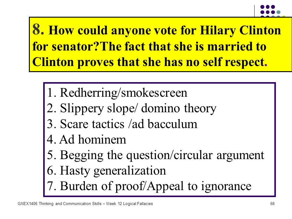 8. How could anyone vote for Hilary Clinton for senator
