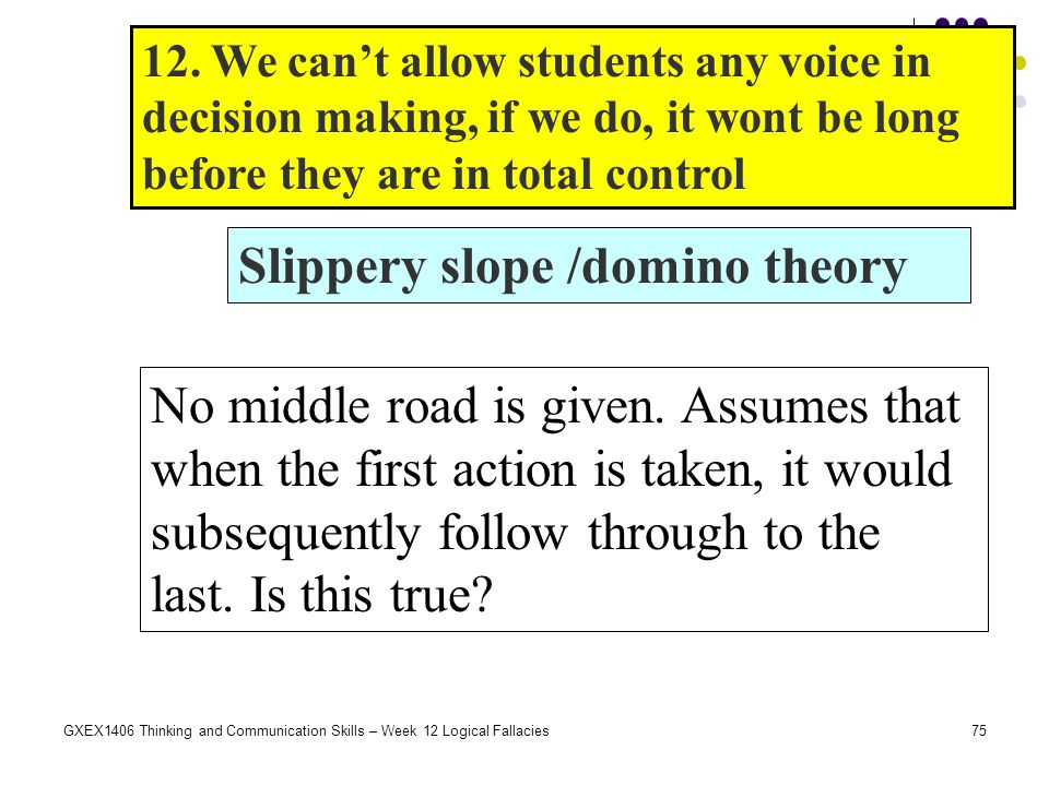 Slippery slope /domino theory