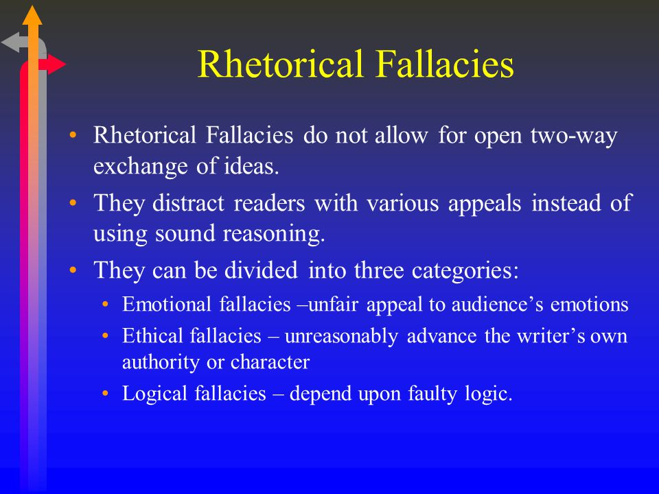 Rhetorical Fallacies Rhetorical Fallacies do not allow for open two-way exchange of ideas.