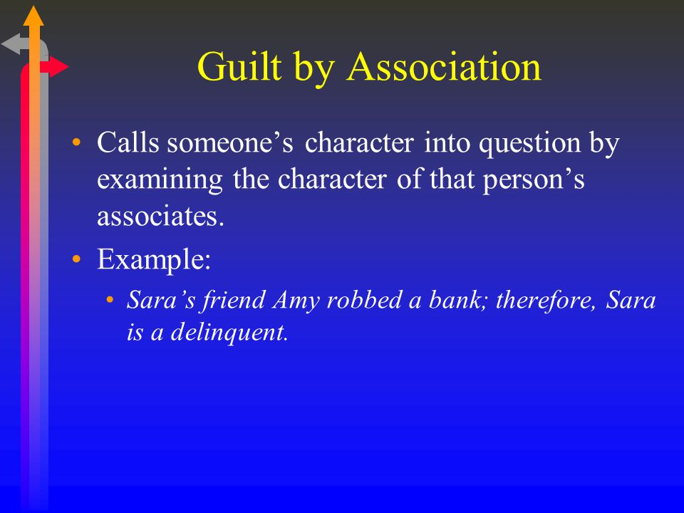 Guilt by Association Calls someone's character into question by examining the character of that person's associates.