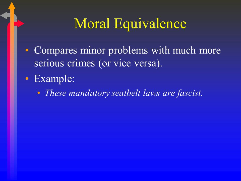 Moral Equivalence Compares minor problems with much more serious crimes (or vice versa).