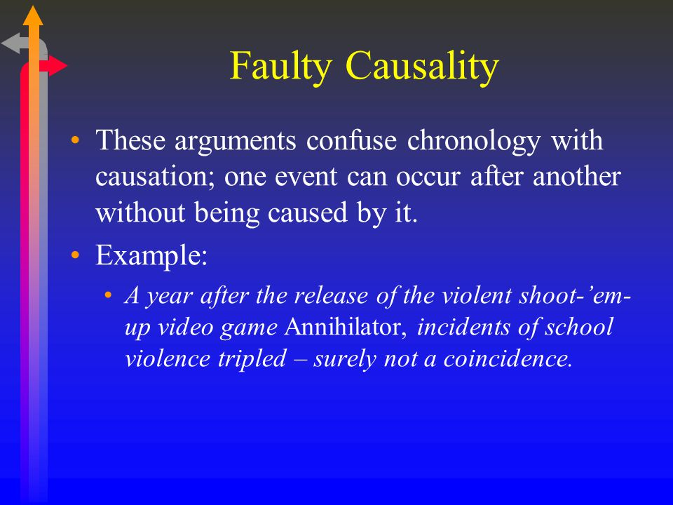 Faulty Causality These arguments confuse chronology with causation; one event can occur after another without being caused by it.
