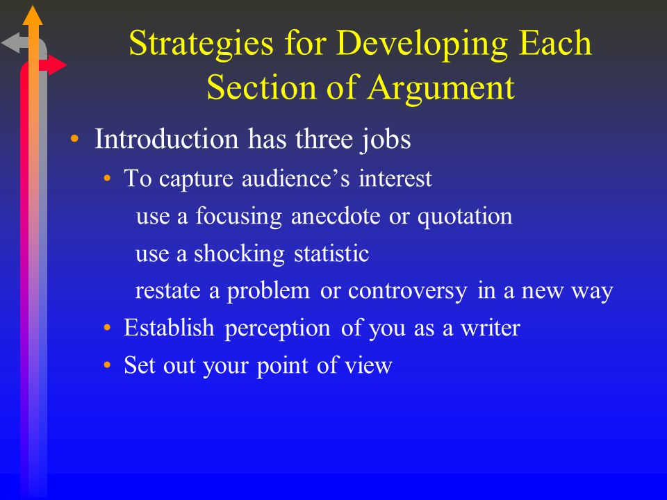 Strategies for Developing Each Section of Argument