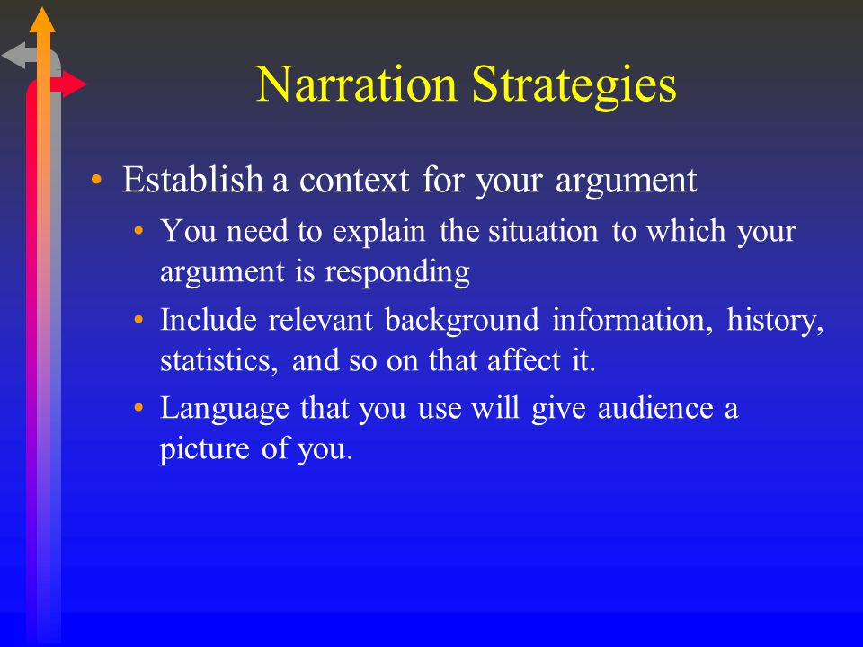 Narration Strategies Establish a context for your argument