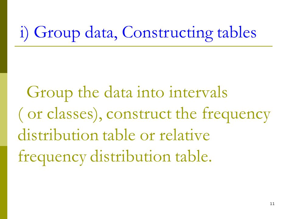 i) Group data, Constructing tables