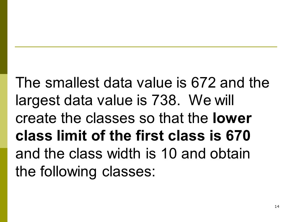 The smallest data value is 672 and the largest data value is 738