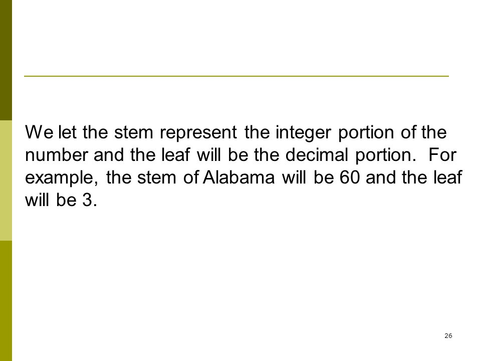 We let the stem represent the integer portion of the number and the leaf will be the decimal portion. For example, the stem of Alabama will be 60 and the leaf will be 3.