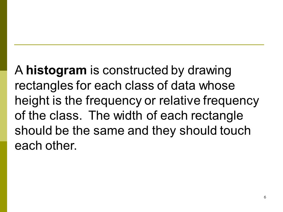 A histogram is constructed by drawing rectangles for each class of data whose height is the frequency or relative frequency of the class. The width of each rectangle should be the same and they should touch each other.