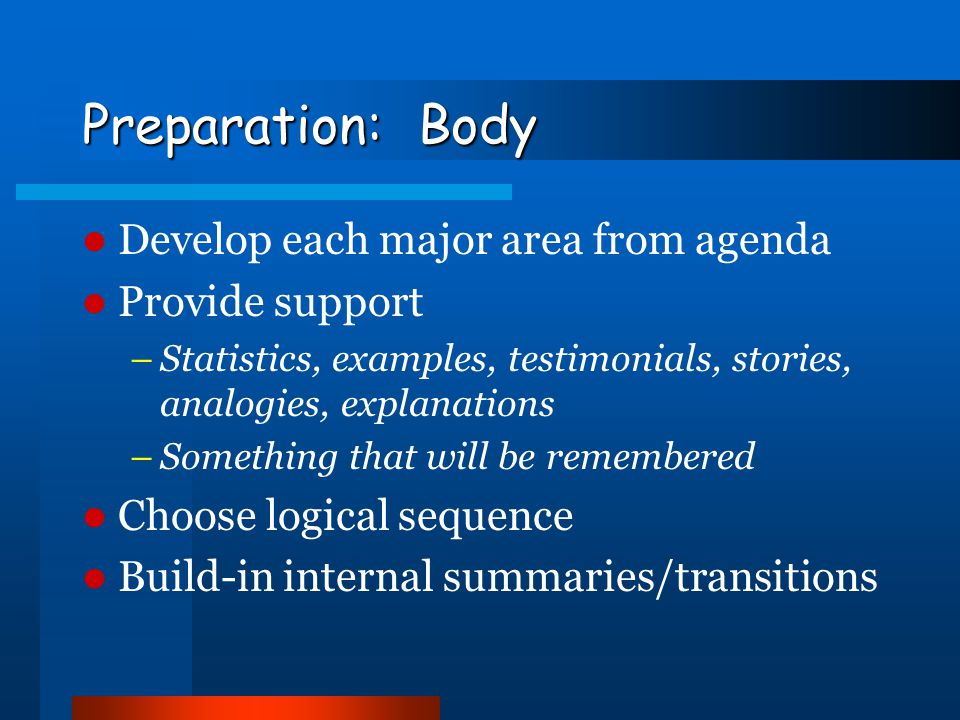 Preparation: Body Develop each major area from agenda Provide support