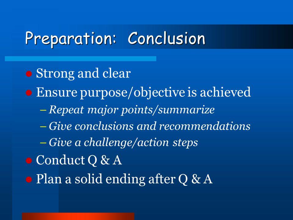 Preparation: Conclusion