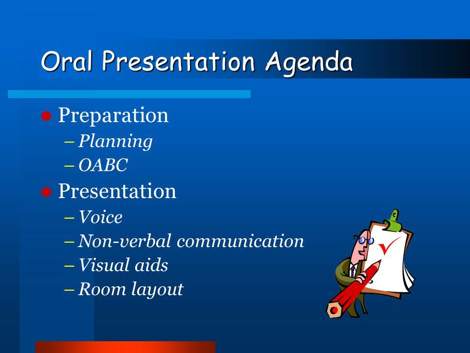 Oral Presentation Agenda