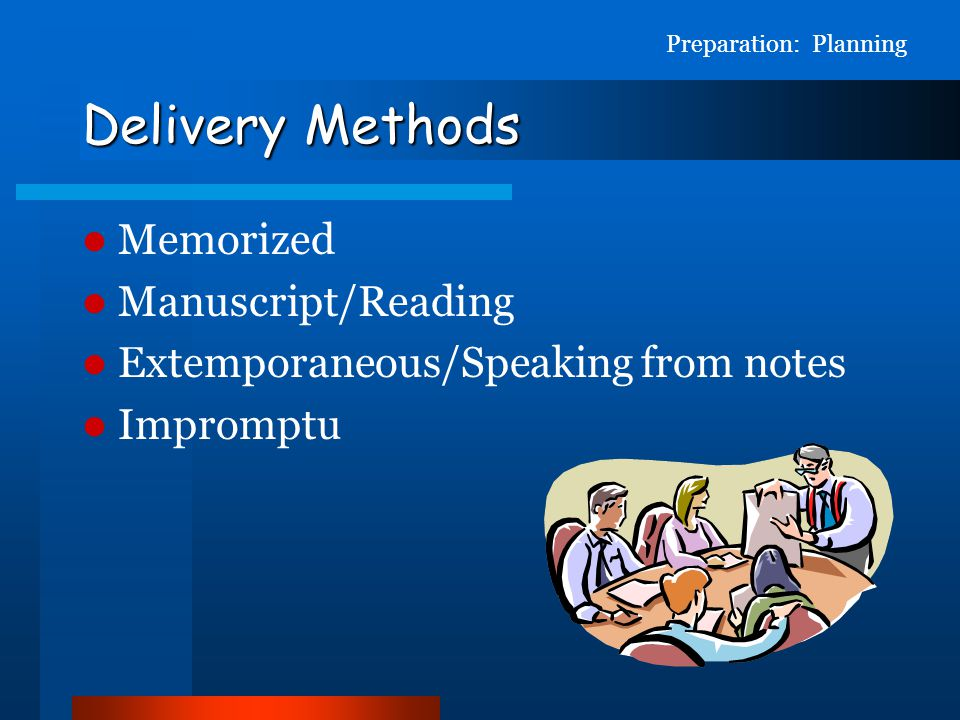 Delivery Methods Memorized Manuscript/Reading