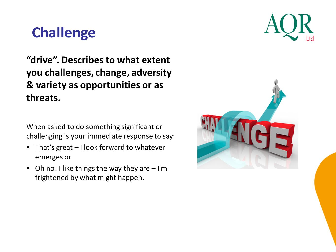 Challenge drive . Describes to what extent you challenges, change, adversity & variety as opportunities or as threats.