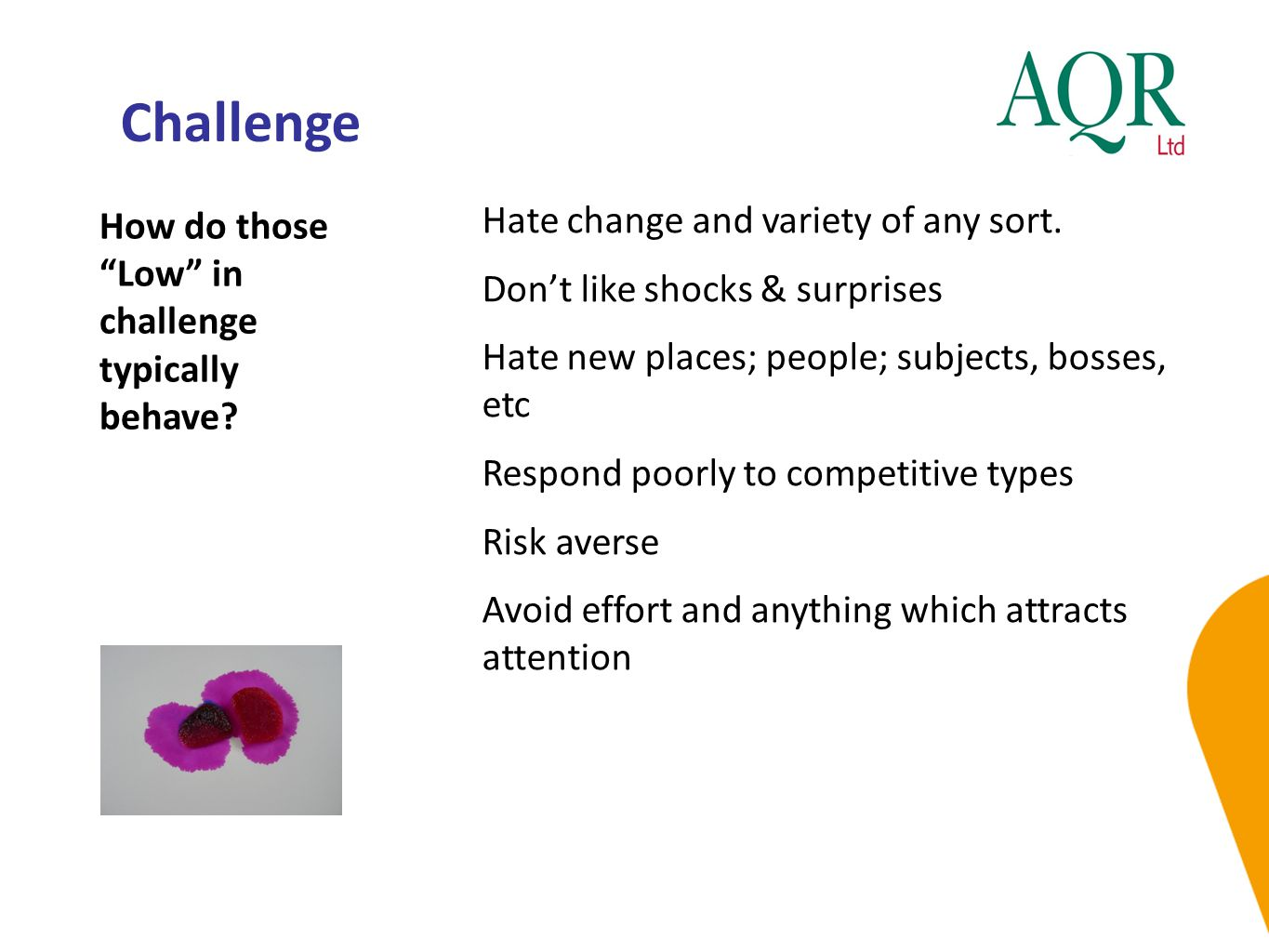Challenge Hate change and variety of any sort.