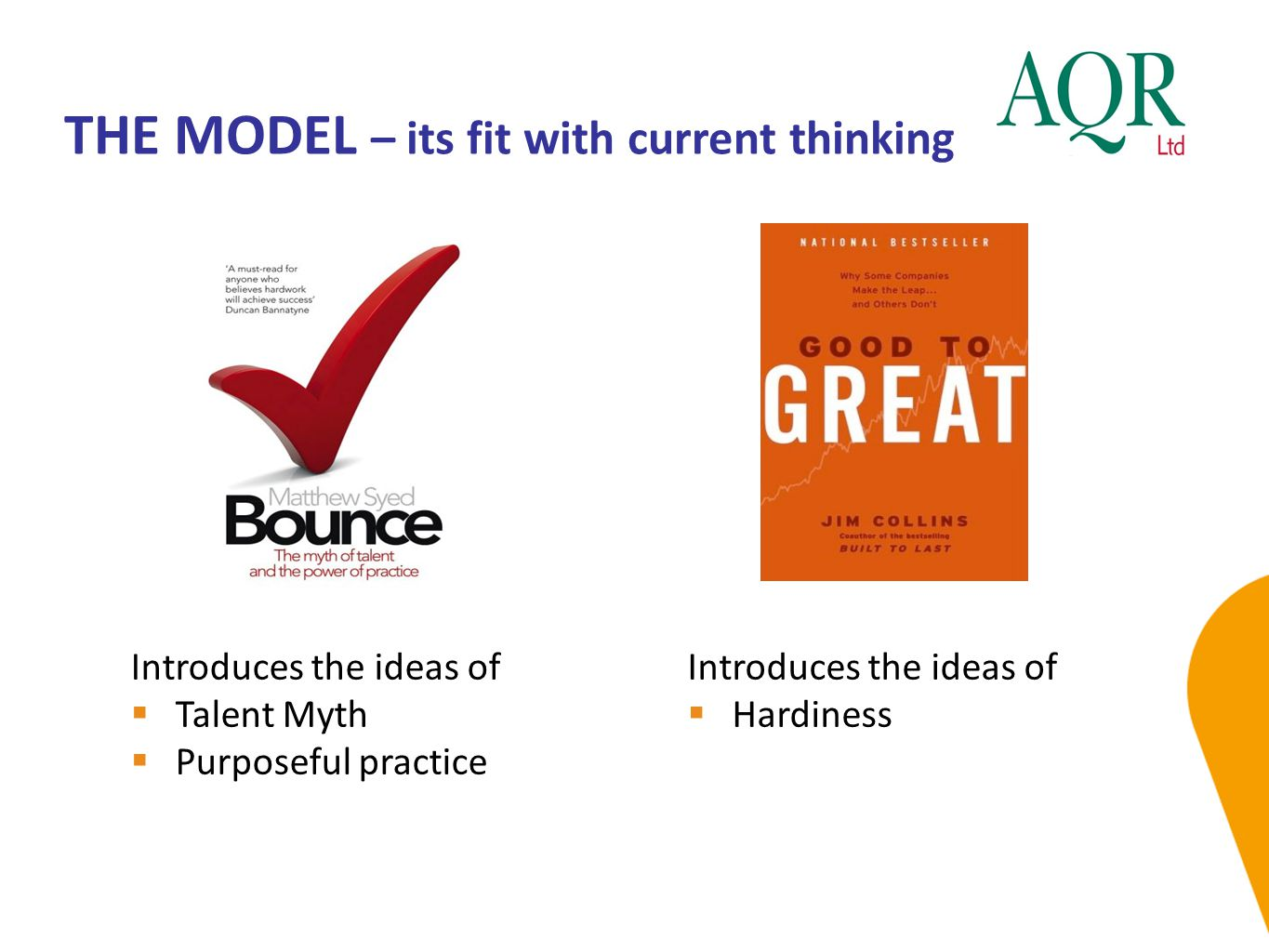 THE MODEL – its fit with current thinking
