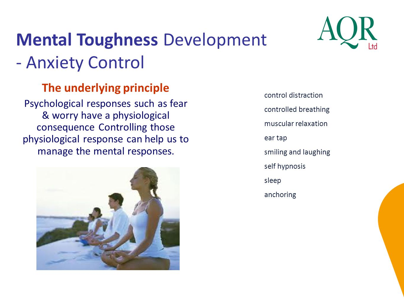 Mental Toughness Development - Anxiety Control