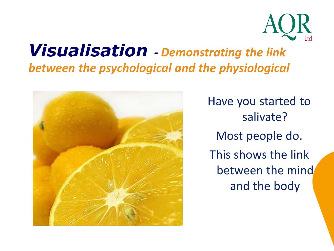 Visualisation - Demonstrating the link between the psychological and the physiological