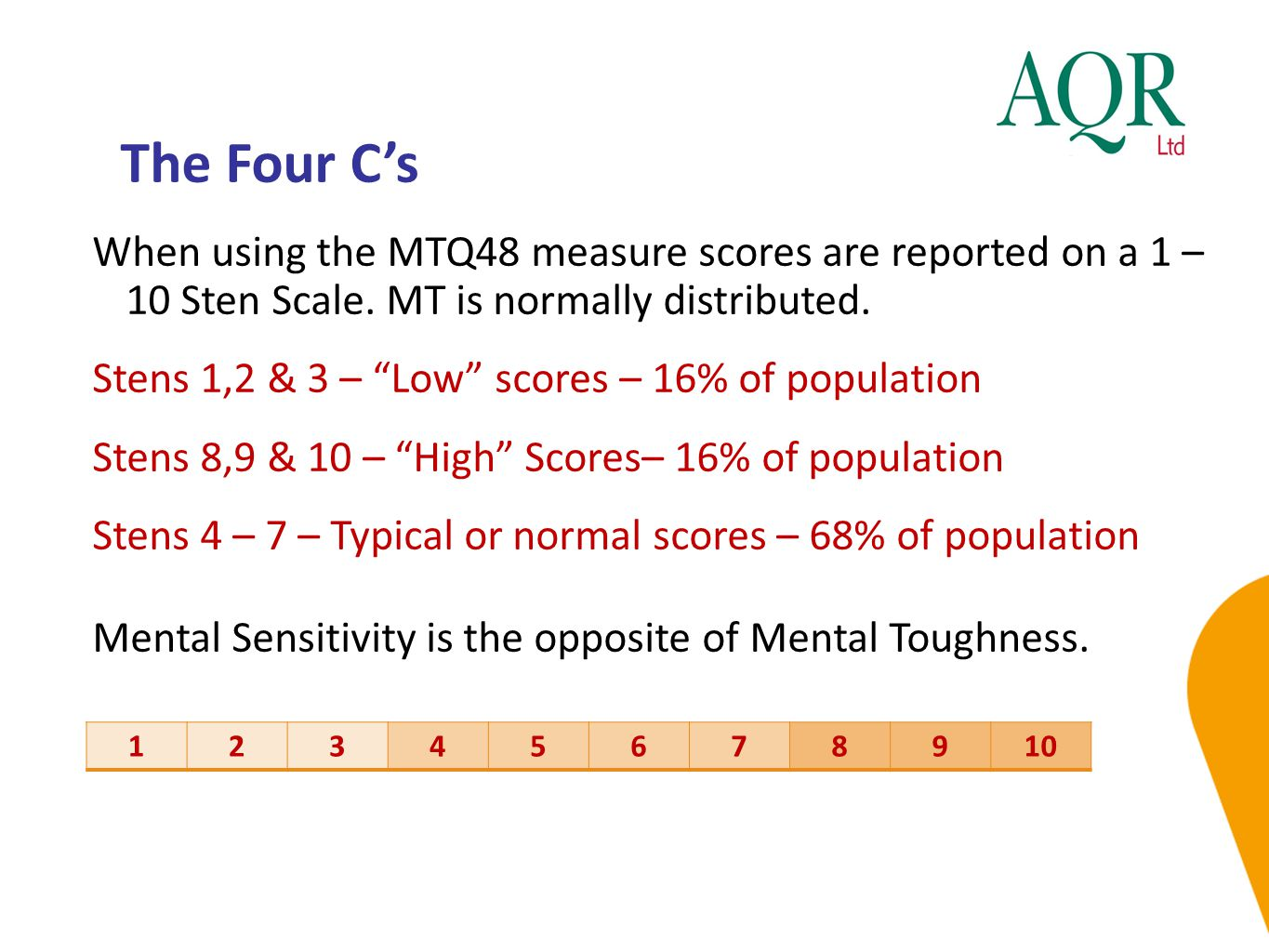 The Four C's When using the MTQ48 measure scores are reported on a 1 – 10 Sten Scale. MT is normally distributed.
