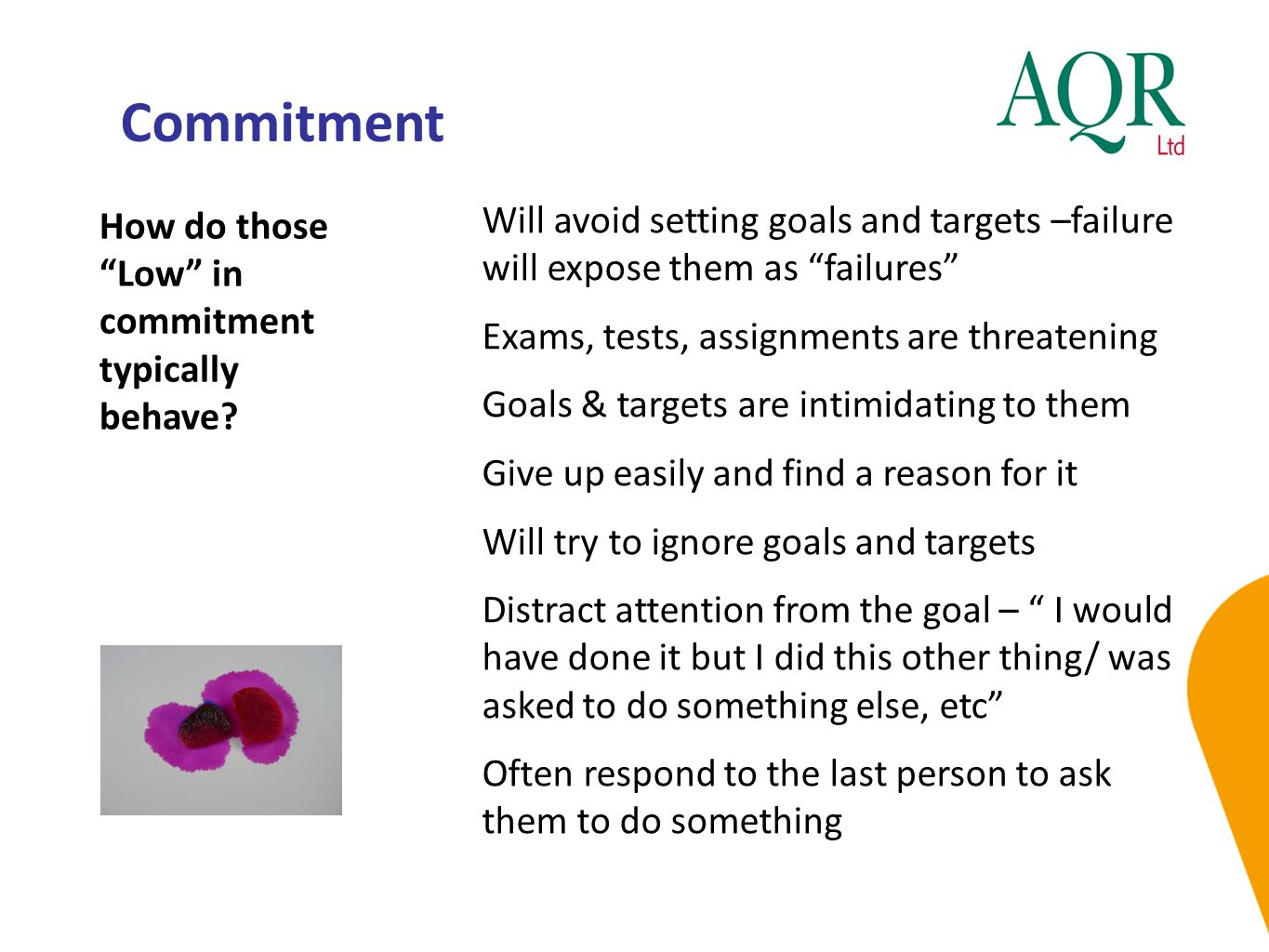 Commitment How do those Low in commitment typically behave Will avoid setting goals and targets –failure will expose them as failures