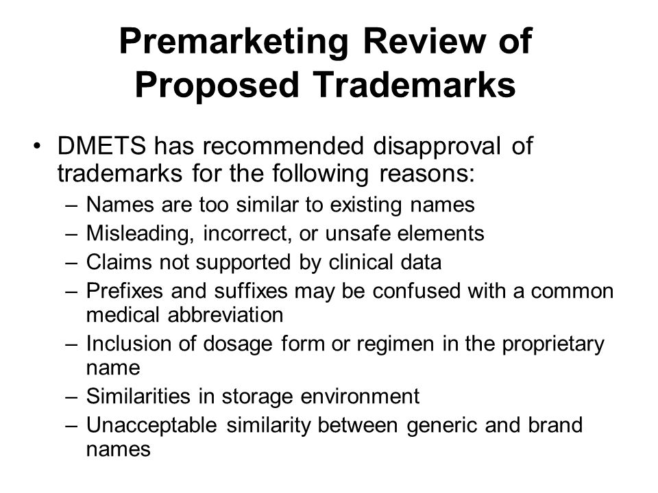 Premarketing Review of Proposed Trademarks