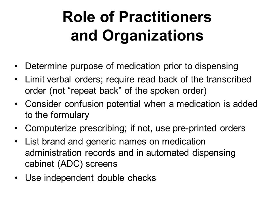 Role of Practitioners and Organizations