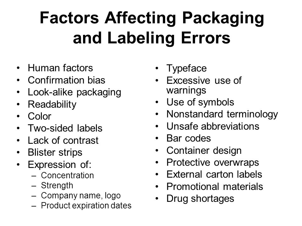 Factors Affecting Packaging and Labeling Errors