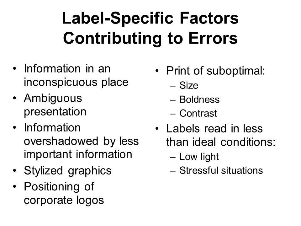 Label-Specific Factors Contributing to Errors