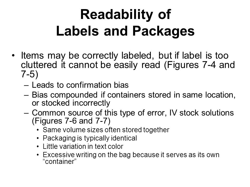 Readability of Labels and Packages