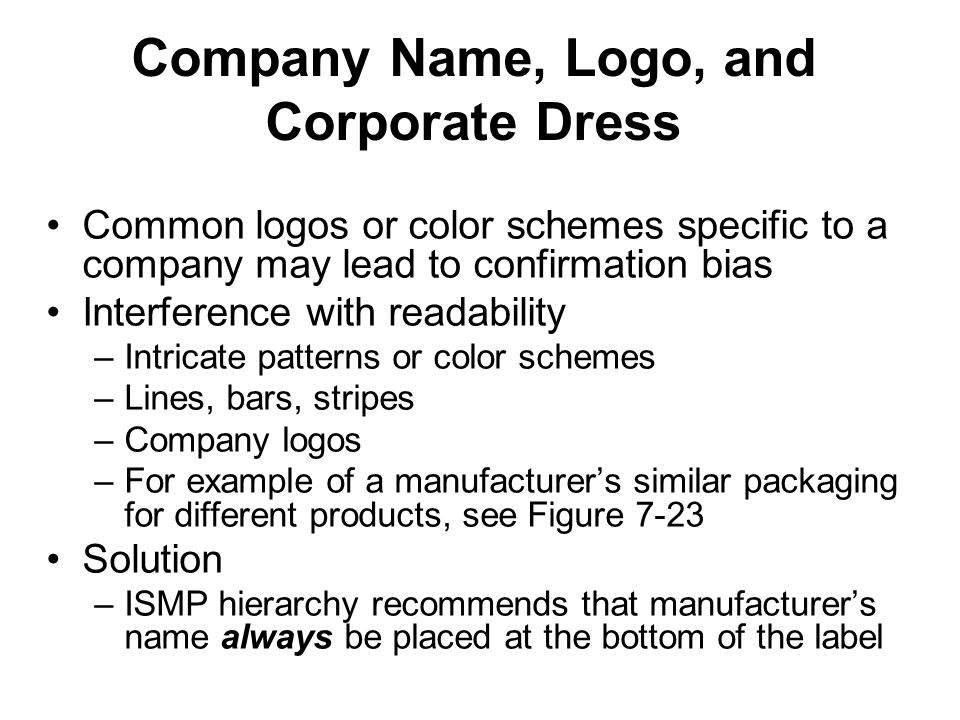 Company Name, Logo, and Corporate Dress