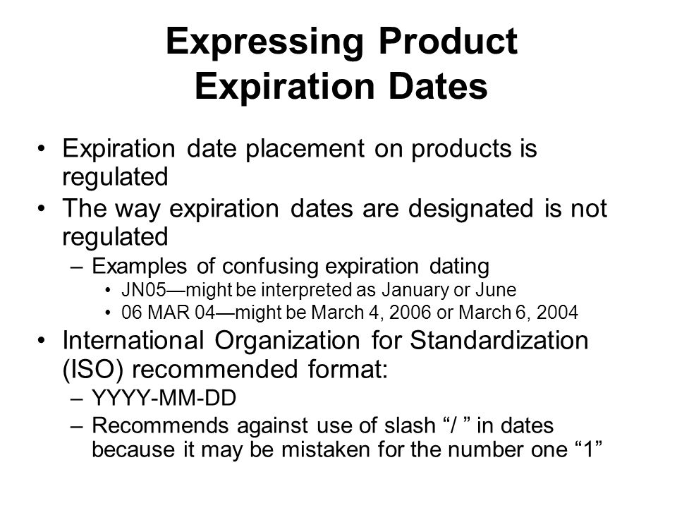 Expressing Product Expiration Dates