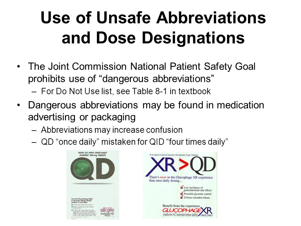 Use of Unsafe Abbreviations and Dose Designations