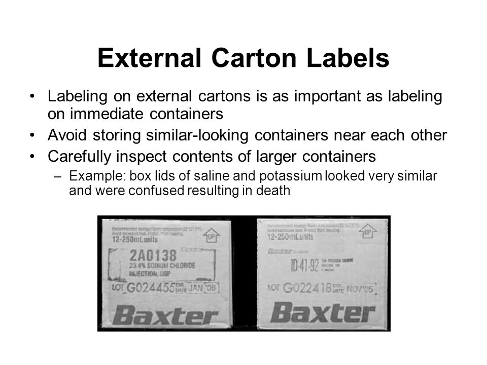 External Carton Labels
