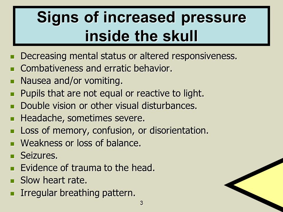 Signs of increased pressure inside the skull