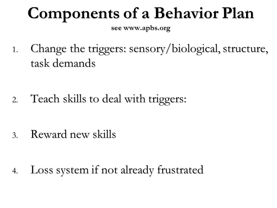 Components of a Behavior Plan see www.apbs.org