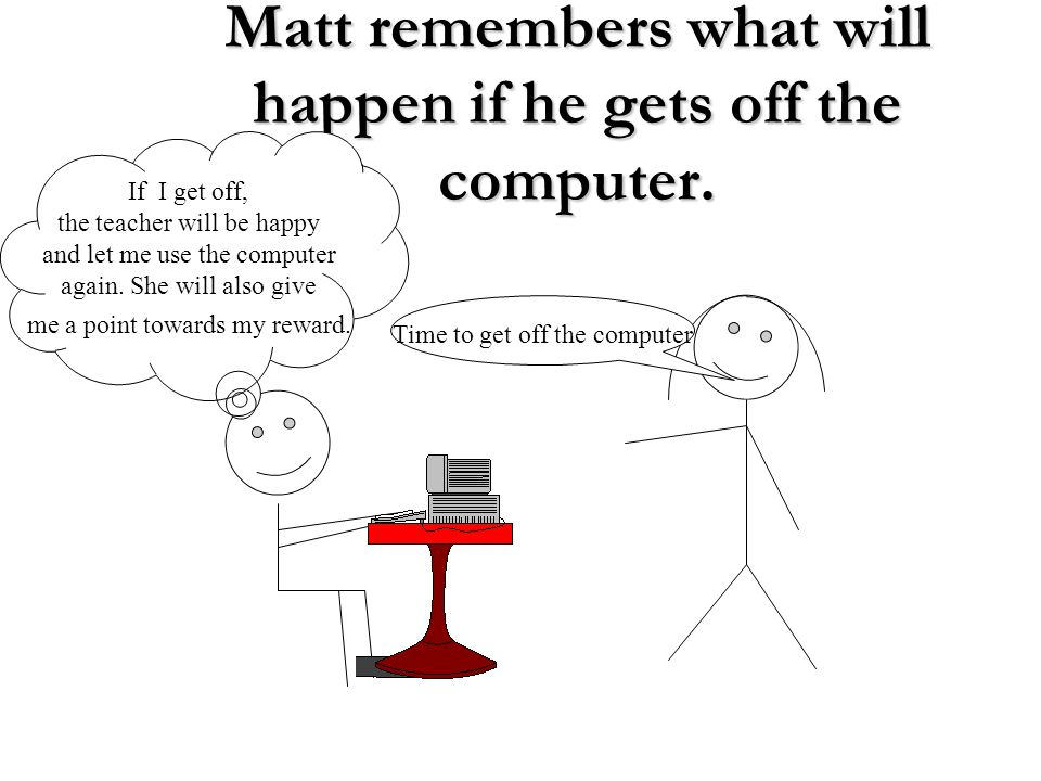 Matt remembers what will happen if he gets off the computer.