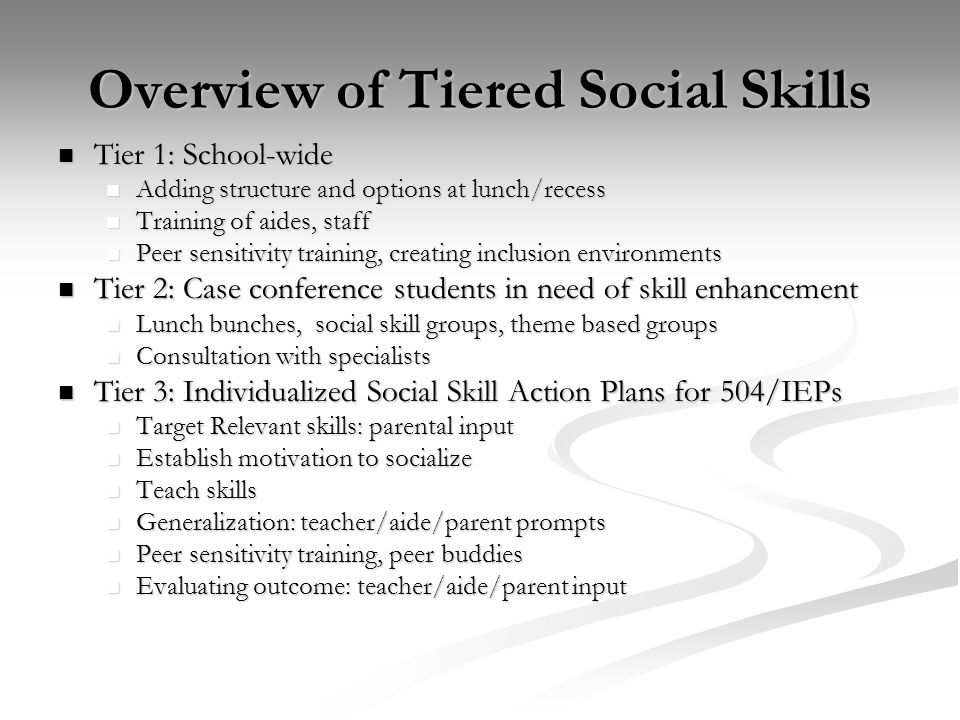 Overview of Tiered Social Skills