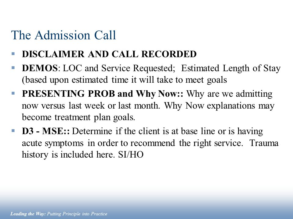The Admission Call DISCLAIMER AND CALL RECORDED