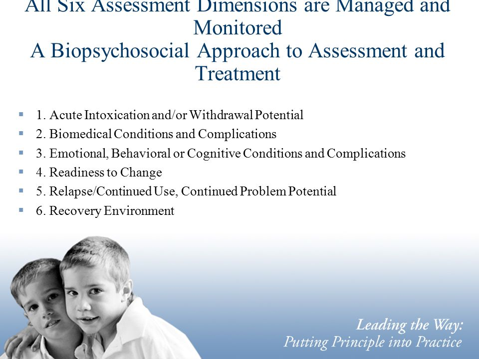 All Six Assessment Dimensions are Managed and Monitored A Biopsychosocial Approach to Assessment and Treatment