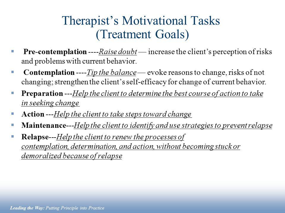 Therapist's Motivational Tasks (Treatment Goals)