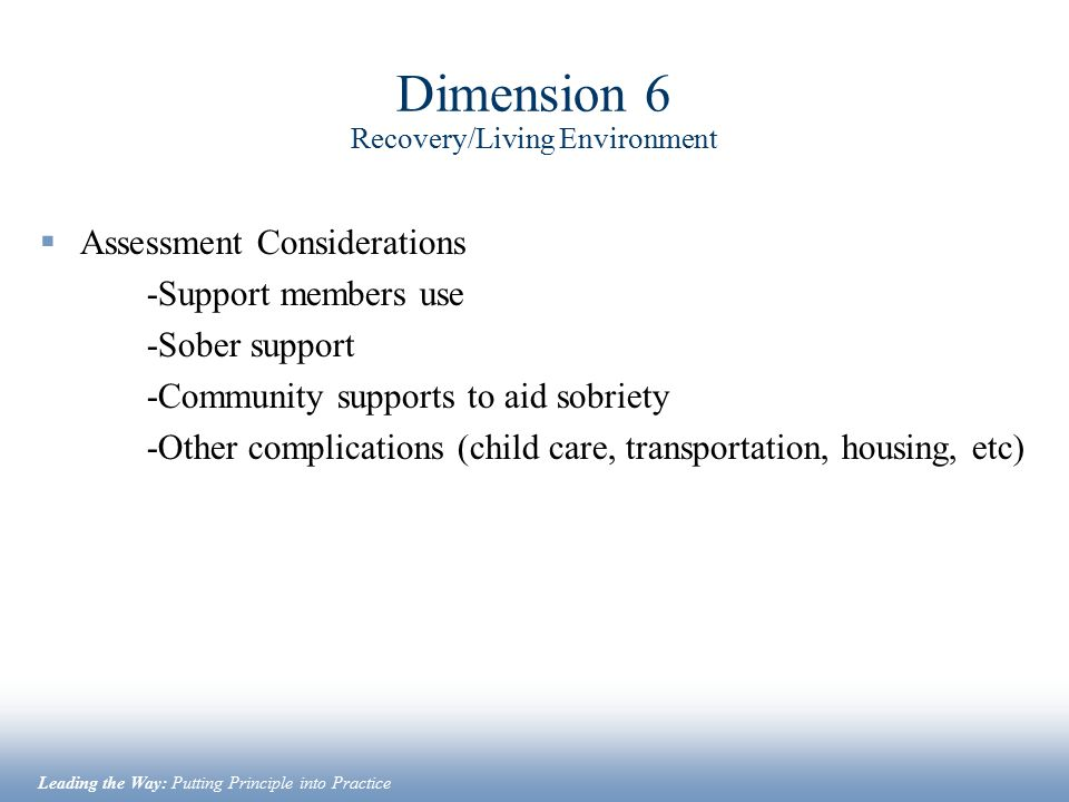Dimension 6 Recovery/Living Environment