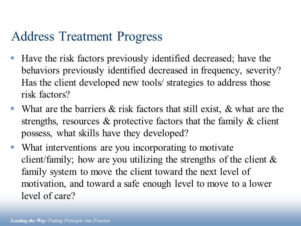 Address Treatment Progress