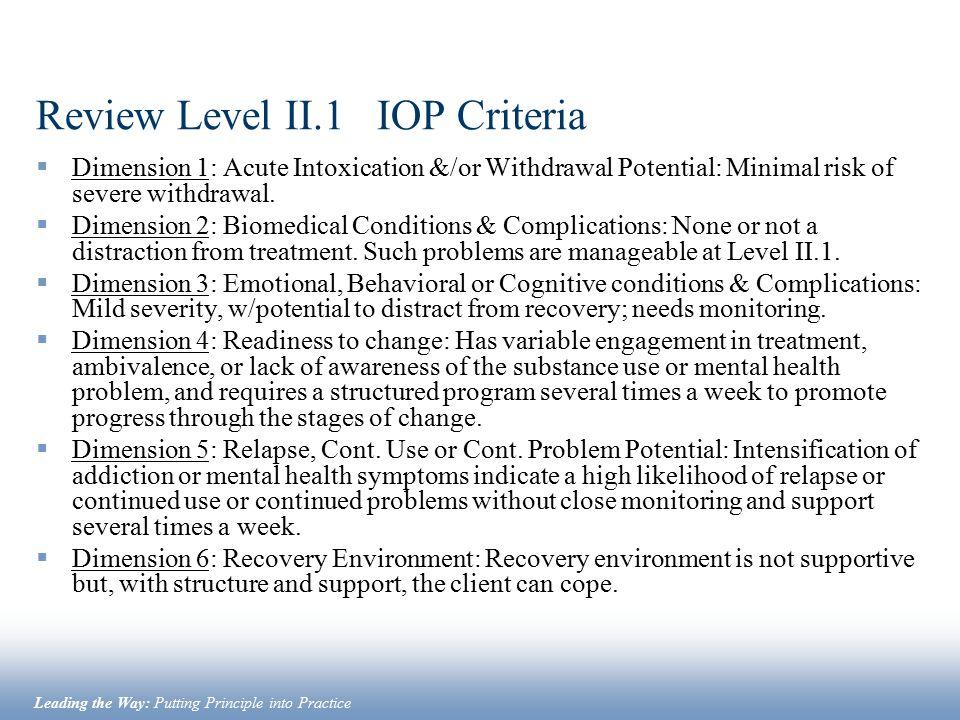 Review Level II.1 IOP Criteria