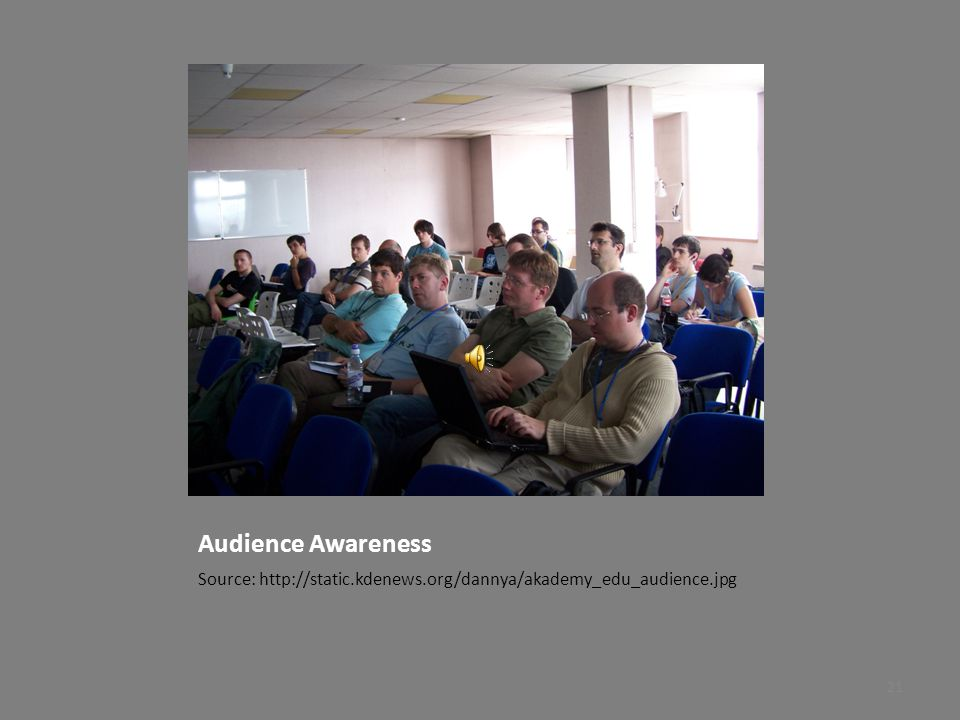 Audience Awareness Source: http://static.kdenews.org/dannya/akademy_edu_audience.jpg