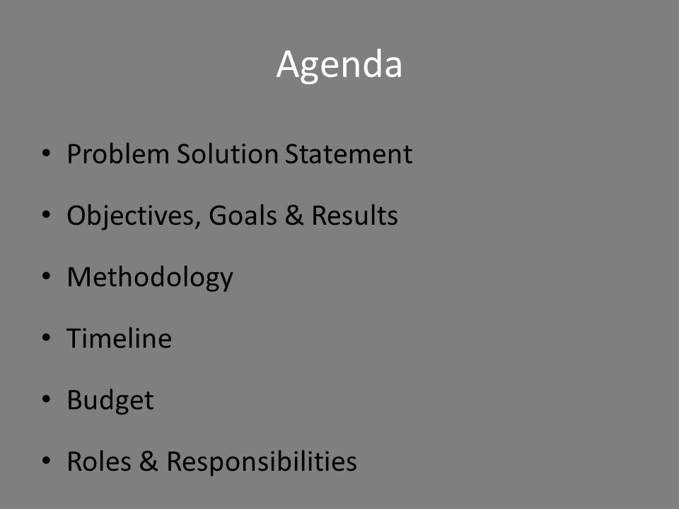 Agenda Problem Solution Statement Objectives, Goals & Results