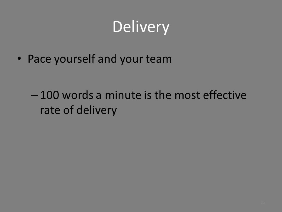 Delivery Pace yourself and your team