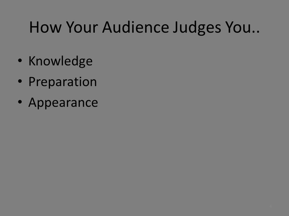 How Your Audience Judges You..