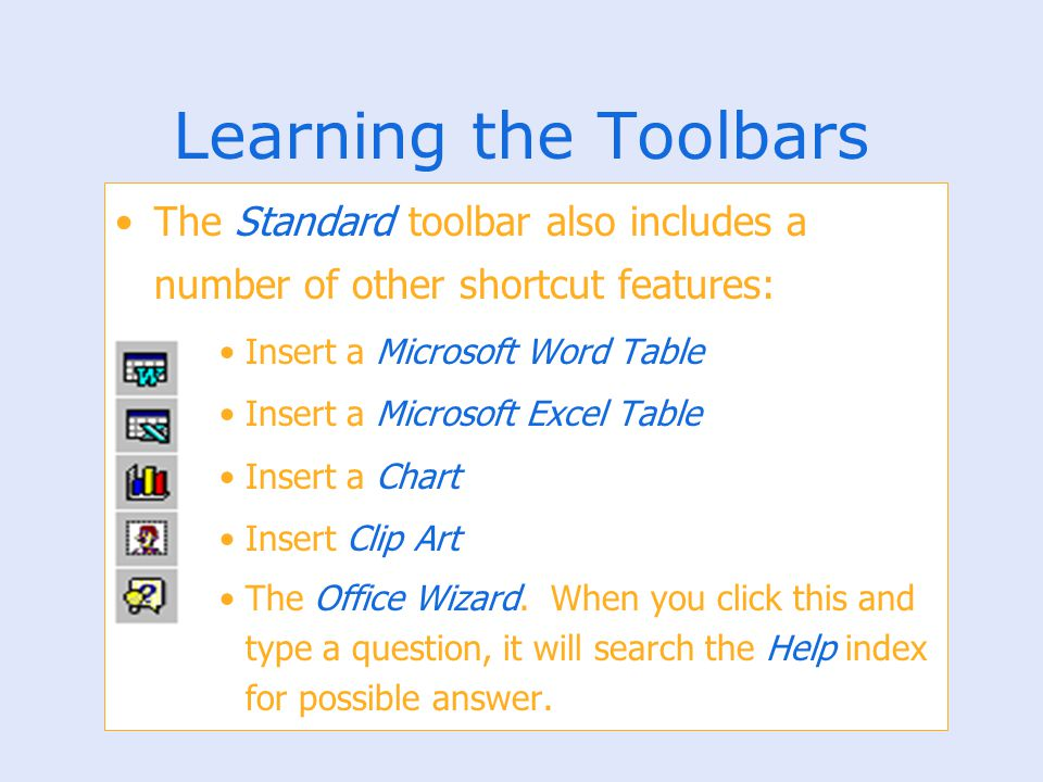 Learning the Toolbars The Standard toolbar also includes a number of other shortcut features: Insert a Microsoft Word Table.